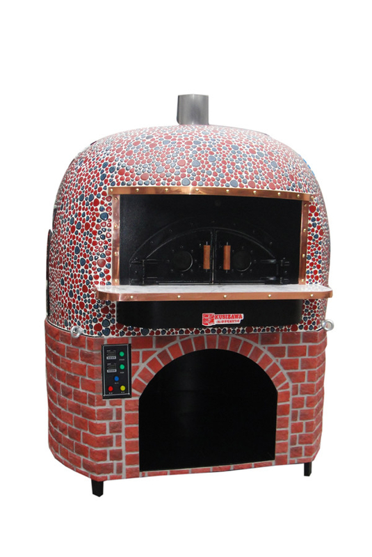Round Lava Rock Wood Fire Italy Pizza Oven with Black or Red Ceramic Tiles