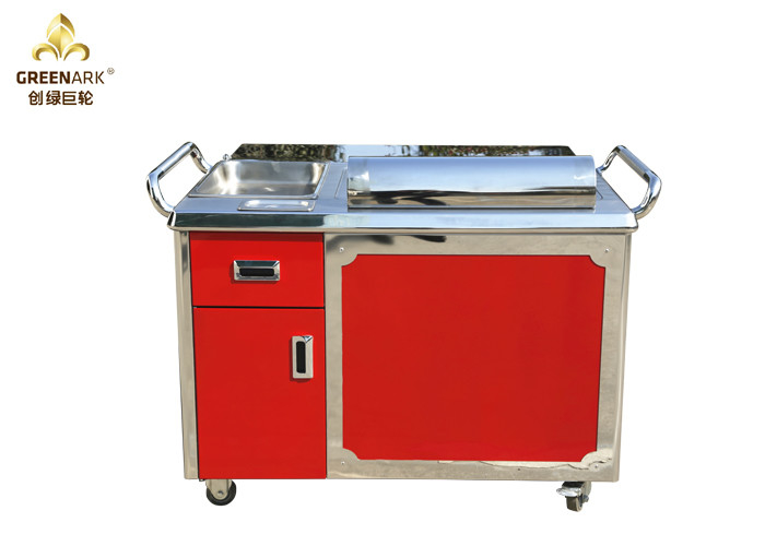 Red Color Teppanyaki Grill Table , Teppanyaki Plate with Drawer Rectangle Shape